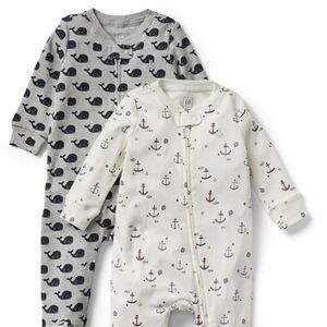 Gap Baby Boy Nautical zip up footie 2 pack NWT